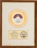 "Music Memorabilia:Awards, The Doors ""Light My Fire"" RIAA Gold Sales Award White Matte Presented to Jim Morrison (Elektra, EK-45615-A)...."