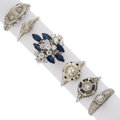 Estate Jewelry:Rings, Diamond, Sapphire, Synthetic Sapphire, White Gold Rings . ... (Total: 6 Items)