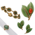 Estate Jewelry:Lots, Jadeite Jade, Coral, Nephrite Jade, Gold Jewelry . ... (Total: 4Items)