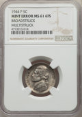 1944-P 5C Jefferson Nickel -- Broadstruck, Multistruck -- MS61 Full Steps NGC