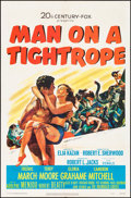 """Movie Posters:Drama, Man on a Tightrope (20th Century Fox, 1953). Folded, Fine/Very Fine. Autographed One Sheet (27"""" X 41""""). Drama.. ..."""