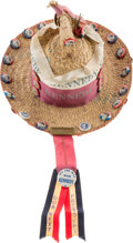 Political:3D & Other Display (1896-present), John F. Kennedy: Wonderful DNC Straw Hat with Rare Buttons....