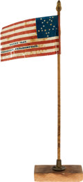 Political:Textile Display (pre-1896), Henry Clay: Small Parade Flag on Stick....