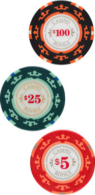 """Casino Royale (MGM, 2006). Near Mint. Casino Royale Screen Used Clay Poker Chips (5) (Diameter: 1.5"""") $5, $25, $100..."""