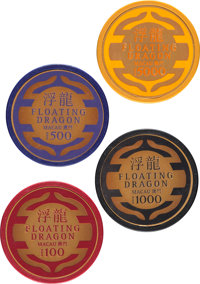 """Skyfall (MGM, 2012). Near Mint. Screen Used Floating Dragon Casino Chips (4) (Diameter: 1.5"""") 100, 500, 1000, &..."""