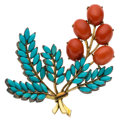 Estate Jewelry:Brooches - Pins, Coral, Turquoise, Gold, Silver Brooch. ...