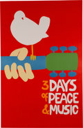 Music Memorabilia:Posters, Woodstock No-Black Plate Poster Signed by Artist Arnold Skolnick (1969). Very Rare....