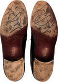 Music Memorabilia:Memorabilia, Michael Jackson Signed Black Florsheim Imperial Shoes (1997). ...
