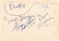 Music Memorabilia:Autographs and Signed Items, Beatles Autographs George Harrison, Paul McCartney and Ringo Starr(3). ...