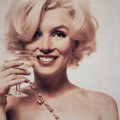 Photographs:Chromogenic, Bert Stern (American, 1929-2013). Marilyn Monroe with Champagne Glass, 1962. Dye coupler, printed later. 18-3/4 x 18-3/4...