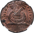 Colonials, 1787 FUGIO Fugio Cent, STATES UNITED, 4 Cinquefoils, Pointed Rays MS64+ Red and Brown NGC. N. 8-X, W-6750, R.3....