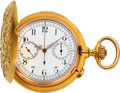 Timepieces:Pocket (post 1900), Swiss, Very Fine 18k Gold Minute Repeater With Chronograph &Register, circa 1905. ...