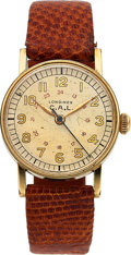Timepieces:Wristwatch, Longines, 24-Hour Dial Military Watch, 10K Yellow Gold Filled,Manual Wind, Circa 1943. ...