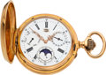 Timepieces:Pocket (pre 1900) , Mathey, Locle, 18k Gold Triple Calendar With Moon Phases, circa 1890. ...