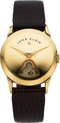 Timepieces:Wristwatch, Lord Elgin, Direct Read Jump Hour, 14K Yellow Gold Filled, ManualWind, Ref. 7775, Circa 1957. ...