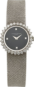 Timepieces:Wristwatch, Vacheron Constantin, Lady's White Gold, Diamond & OnyxWristwatch, Circa 1970's. ...