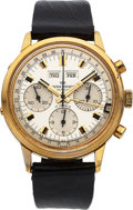 Timepieces:Wristwatch, Wakmann, Triple-Date Chronograph, Yellow Gold Plate and St...