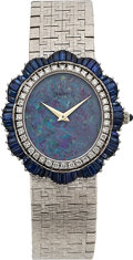 Timepieces:Wristwatch, Piaget, Lady's Diamond, Sapphire & Opal White Gold Wristwatch,Circa 1972. ...