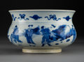 Ceramics & Porcelain, A Chinese Blue and White Porcelain Bowl Depicting the Eight Immortals, Zhadou, Qing Dynasty, Kangxi period. 5-1/2 x 8-5/8 in...