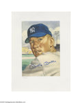 Autographs:Others, 1953 Topps Lithographs Signed by Mantle & Mays....