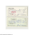Autographs:Checks, Jesse Haines Signed Check Lot of 2....