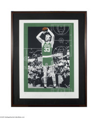 """Larry Bird Signed Lithograph. Massive (41x51"""" framed) piece pays tribute to the Celtics Hall of Famer in Andy Warho..."""