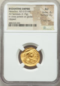 Ancients:Byzantine, Ancients: Heraclius (AD 610-641). AV semissis (20mm, 2.15 gm, 7h).NGC AU 4/5 - 2/5, wavy flan, clipped....
