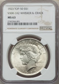 Peace Dollars, 1923 $1 Whisker & Crack, VAM-1A2, MS63 NGC. A Top 50 Variety. PCGS Population: (58/98). MS63....