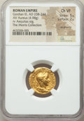 Ancients:Roman Imperial, Ancients: Gordian III (AD 238-244). AV aureus (19mm, 4.98 gm, 12h). NGC Choice VF 5/5 - 2/5, ex-jewelry....