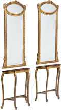 Furniture , A Pair of Red Stone Inlaid Console Tables with Accompanying Trumeau Mirrors, 19th century. 101-1/2 x 31-1/2 x 14-1/4 inches ... (Total: 4 Items)