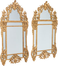 A Pair of Régence-Style Carved Giltwood Mirrors, 20th century 75 x 41 x 4 inches (190.5 x 104.1 x 10.2 cm) (each)...