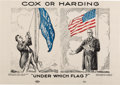 "Political:Posters & Broadsides (1896-present), Warren G. Harding vs. James M. Cox: ""Under Which Flag?"" Poster...."