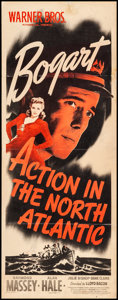 "Movie Posters:War, Action in the North Atlantic (Warner Brothers, 1943). Folded, Fine+. Insert (14"" X 36""). War.. ..."