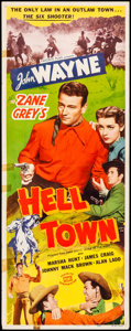 "Movie Posters:Western, Hell Town (Favorite Films, R-1950). Folded, Fine/Very Fine. Insert (14"" X 36""). Original Release Title: Born to the West..."