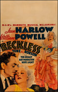 """Movie Posters:Drama, Reckless (MGM, 1935). Fine- on Cardstock. Window Card (14"""" X 22"""").Drama.. ..."""