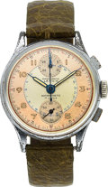 Timepieces:Wristwatch, Lathin Chronograph, Chrome and Stainless Steel, Venus Movement,Circa 1940s. ...