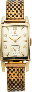 Timepieces:Wristwatch, Omega, Vintage Tank, 14K Yellow Gold Filled, Manual Wind, Ref.6234, Circa 1950. ...