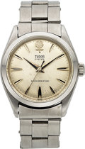 Timepieces:Wristwatch, Tudor, Big Rose Manual-Wind Oyster with Rivet Bracelet, Stainless Steel, Ref. 7934, Circa 1958. ...