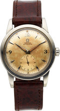 Timepieces:Wristwatch, Omega, Bumper Automatic with Early Sub Seconds, Stainless Steel, Ref. 2576-4, Circa 1947. ...
