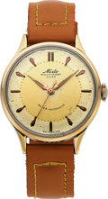 Timepieces:Wristwatch, Mido, Vintage Multifort Luxe Bumper Automatic, Rose Gold andStainless Steel, Circa 1951. ...