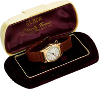 Elbon, New-Old-Stock with Military-Style Dial, 10K Yellow Rolled Gold Plate, Manual Wind, Circa 1940s