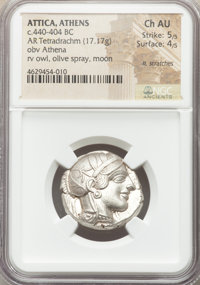 Ancients: ATTICA. Athens. Ca. 440-404 BC. AR tetradrachm (25mm, 17.17 gm, 1h). NGC Choice AU 5/5 - 4/5, light scratches...