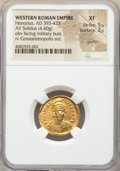 Ancients:Roman Imperial, Ancients: Honorius, Western Roman Empire (AD 393-423). AV solidus(21mm, 4.40 gm, 6h). NGC XF 5/5 - 2/5, graffiti....