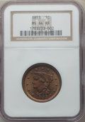 Large Cents, 1853 1C MS64 Red and Brown NGC. NGC Census: (145/126). PCGS Population: (241/143). MS64. Mintage 6,641,131. ...
