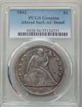 Seated Dollars: , 1842 $1 -- Altered Surfaces -- PCGS Genuine. AU Details. NGC Census: (65/324). PCGS Population: (109/288). AU50. Mintage 18...