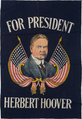 Political:Textile Display (1896-present), Herbert Hoover: Colorful Silkscreen Banner....