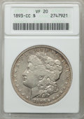 1893-CC $1 VF20 ANACS. NGC Census: (201/2969). PCGS Population: (324/5996). CDN: $500 Whsle. Bid for problem-free NGC/PC...