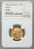 "Australia, Australia: Victoria gold ""Shield"" Sovereign 1880-S AU58 NGC,..."