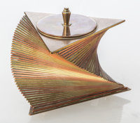 John Nicholas Otar (American, 1893-1939) Cigarette Box, circa 1933, Otar USA Brass and copper 4 x