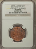 India:British India, India: British India. East India Company 3-Piece Lot of Certified 1/4 Annas NGC, ... (Total: 3 coins)